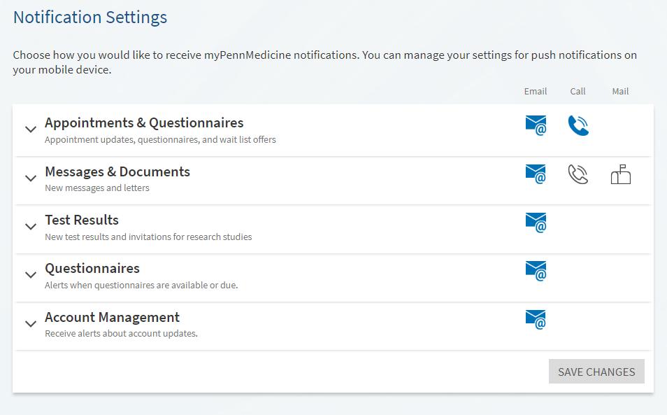 screenshot of myPennMedicine notifications settings screen