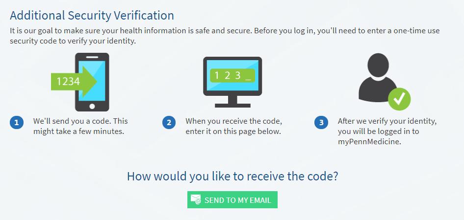 screenshot of myPennMedicine security verification screen