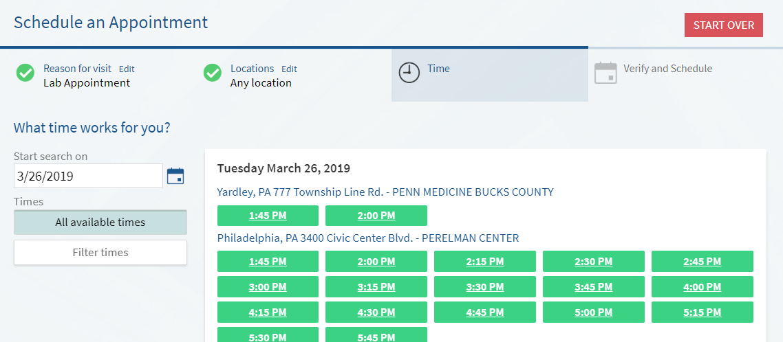 screenshot of myPennMedicine appointment scheduling screen
